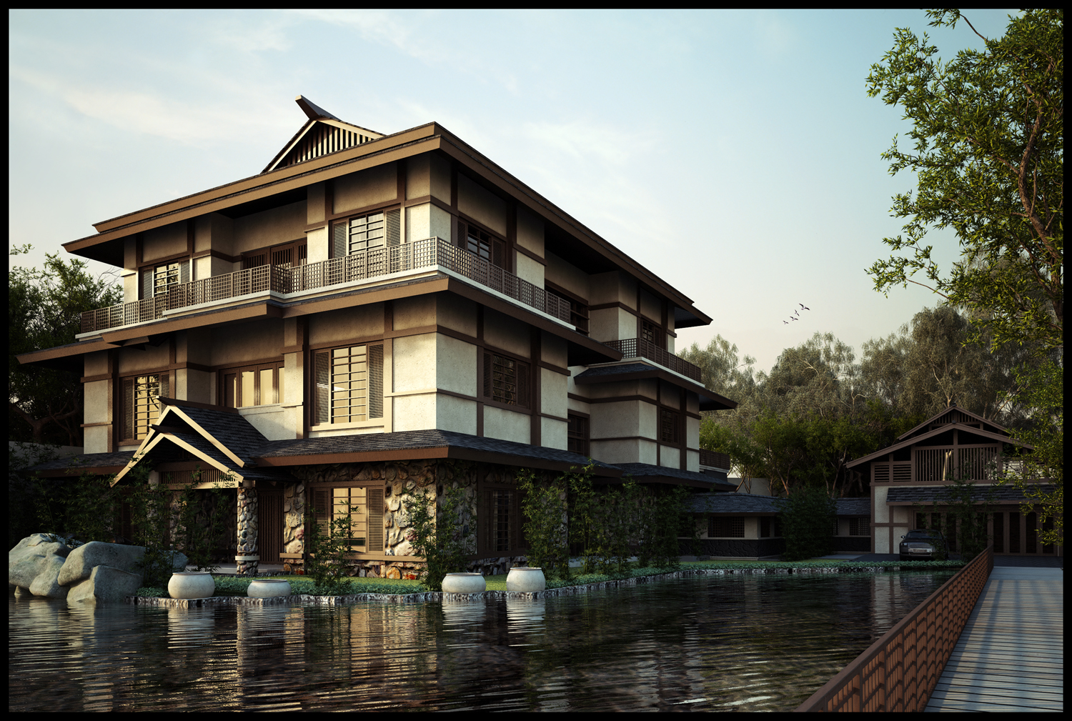 Designing a japanese style house home garden healthy for Conventional style home