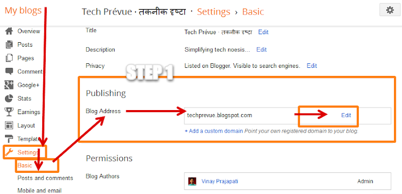 Change Blog URL in Blogger Step 1