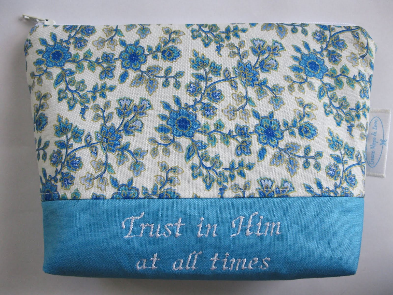 Petersham Bible Book U0026 Tract Depot Blue Floral Toiletries Bag