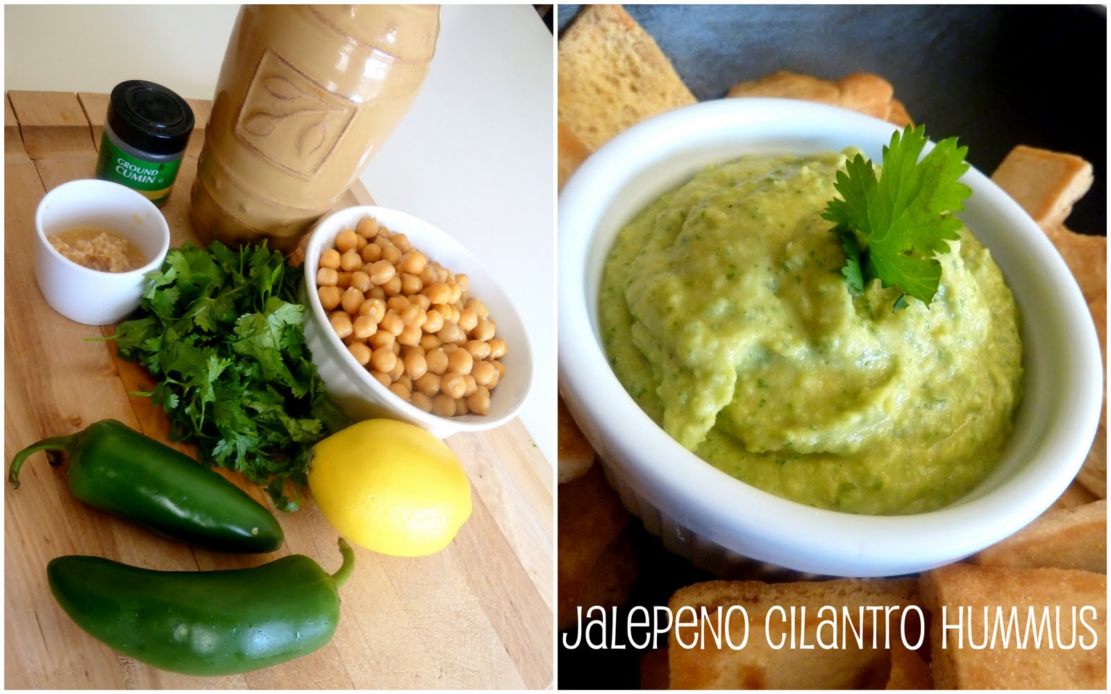 Jalepeno Cilantro Hummus & Roasted Red Pepper Hummus Recipes |