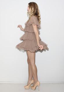 Vintage 1970's brown silk tiered mini dress.