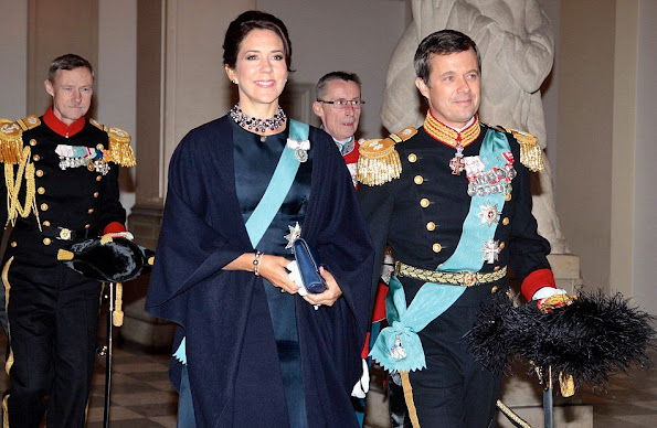 Queen Margrethe, Crown Prince Frederik and Crown Princess Mary of Denmark during the 2nd day of the New Years reception at Christiansborg Palace