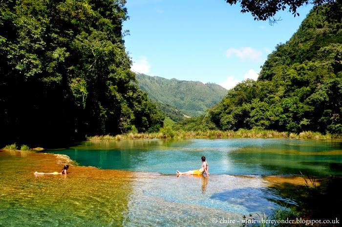 swimming at Semuc Champey, Guatemala - 2009