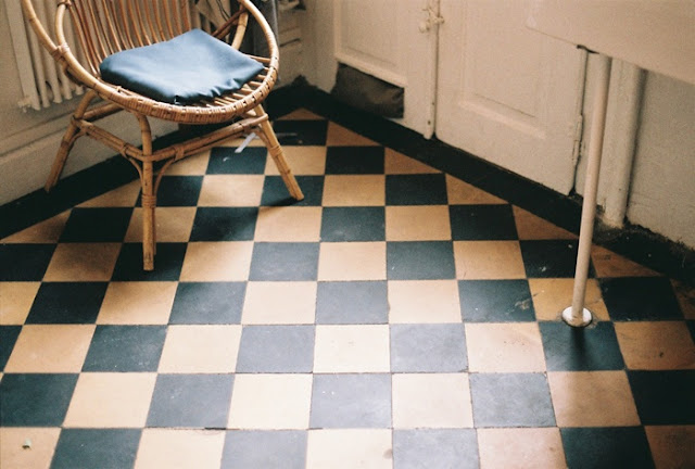 blue checkered floor
