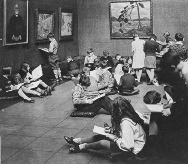 A Saturday Morning Class in the Laidlaw Gallery, Art Gallery of Toronto (AGO), 1930s.