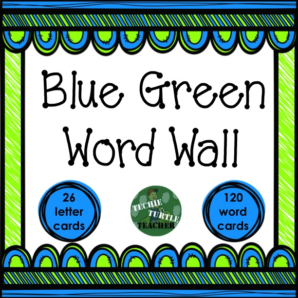 http://www.teacherspayteachers.com/Product/Classroom-Decor-Blue-Green-Word-Wall-1346840