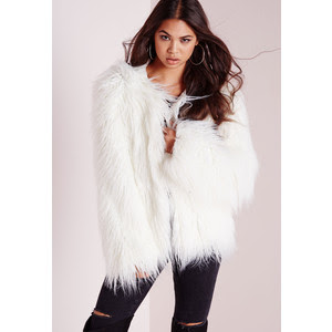 White Mongolian Faux Fur Coat at Missguided