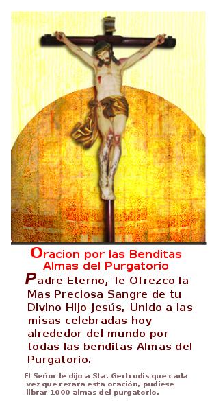 jesus en la cruz con oracion para las animas benditas