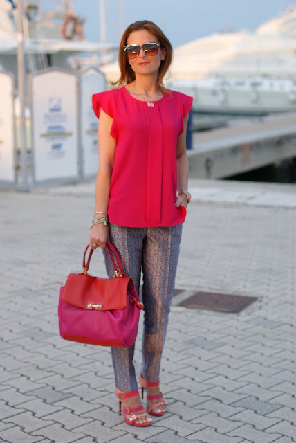 metallic geo print trousers, Cesare Paciotti sandals, Fashion and Cookies