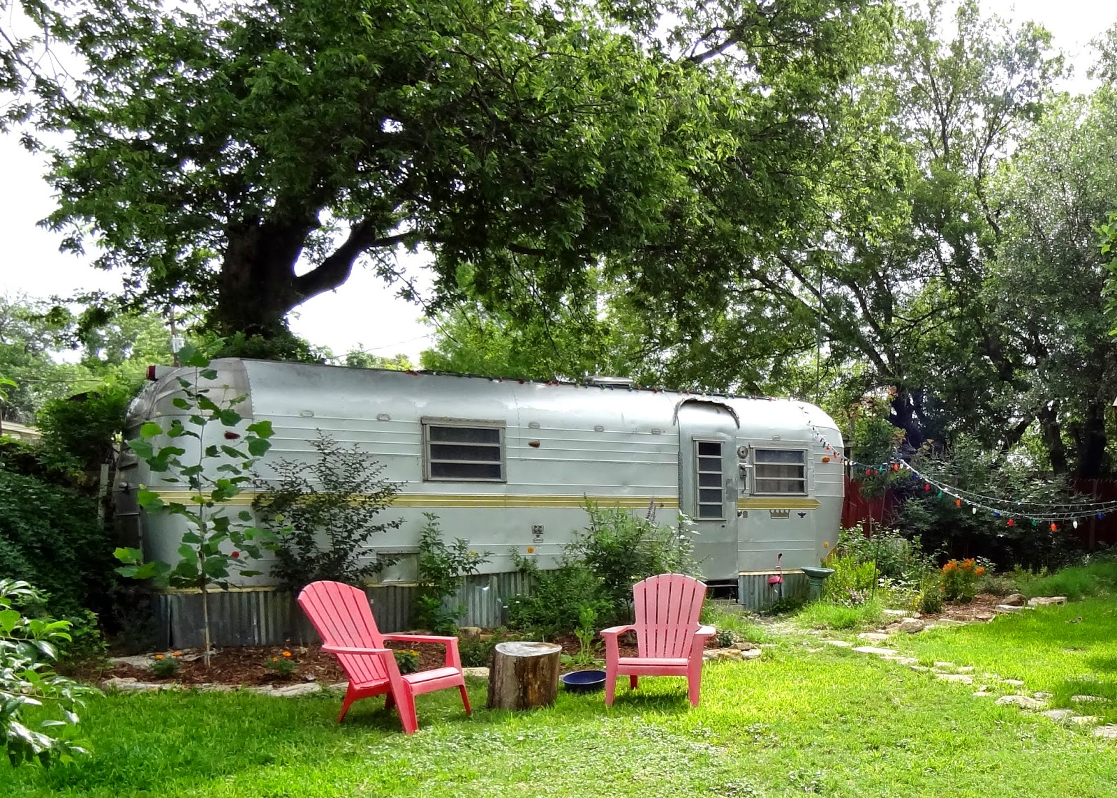 Vintage Airstream In Boho Garden