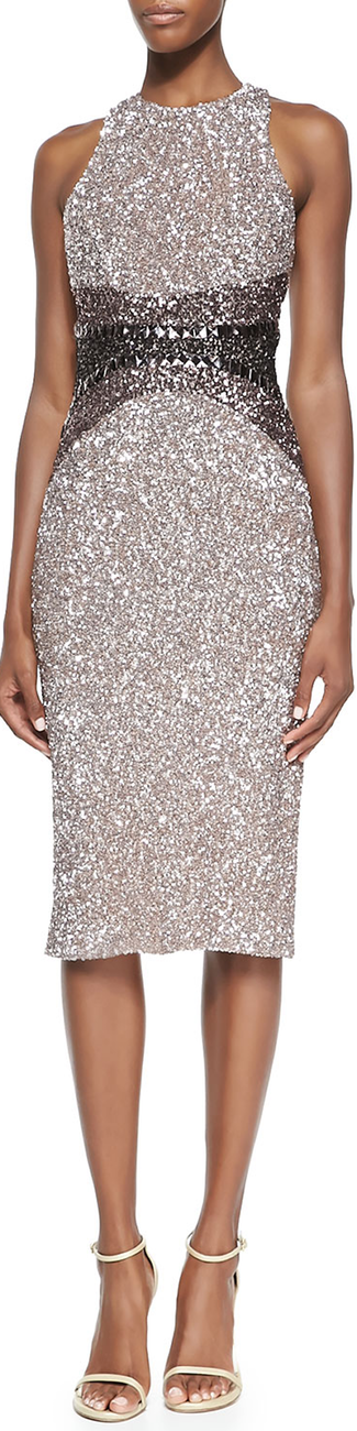 Pamella Roland Signature Sequin Ombre Sheath Dress
