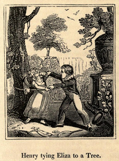 Henry tying Eliza to a Tree