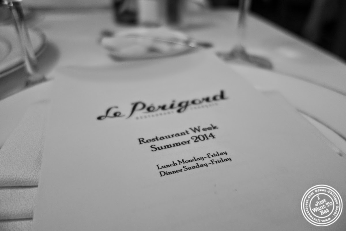 image of restaurant week menu at Le Périgord in New York, NY