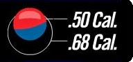 Сравнение пэйнтбольных шаров 50 и 68 калибра.