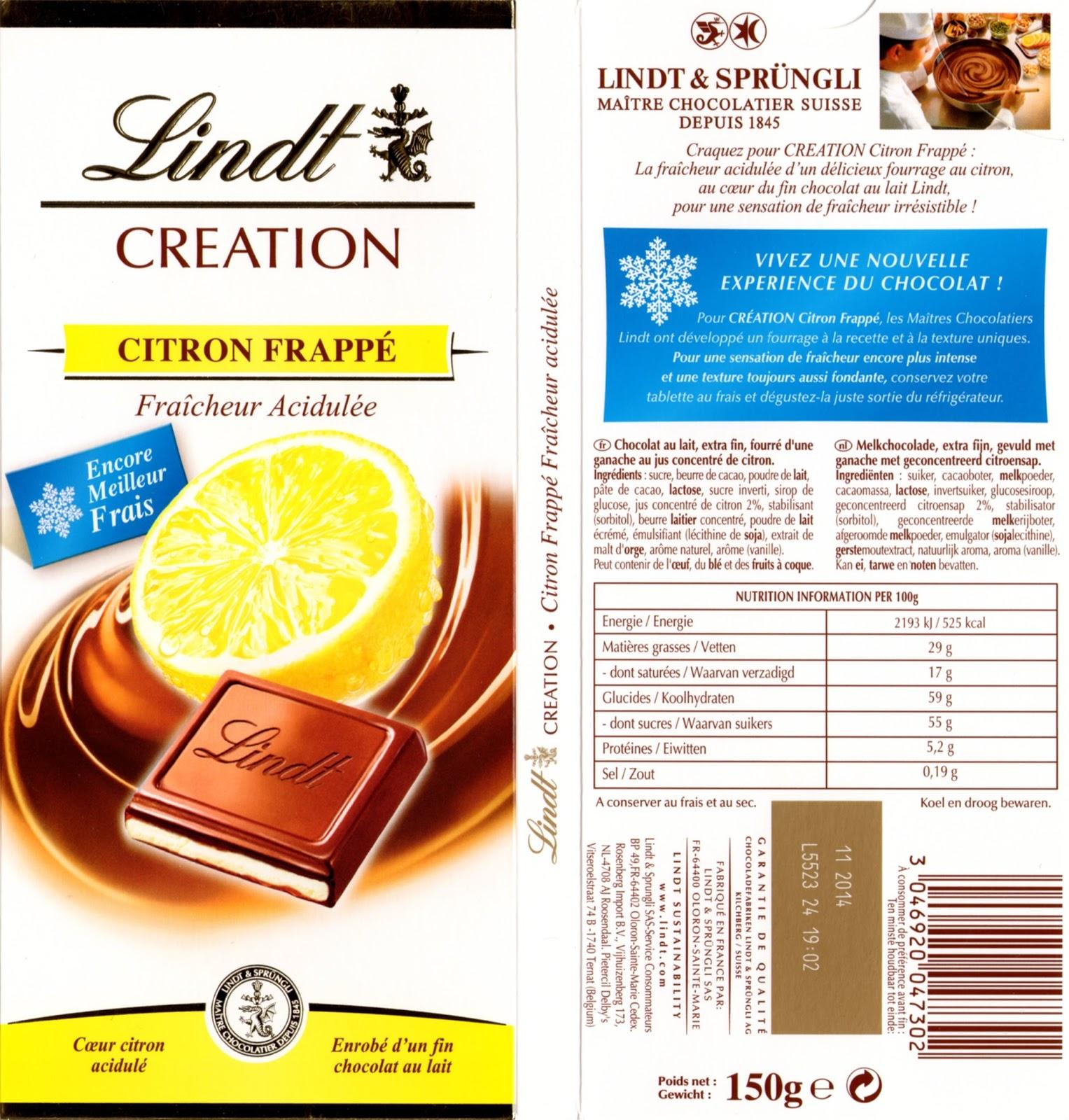 tablette de chocolat lait fourré lindt création citron frappé