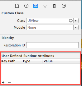 User Defined Runtime Atrributes screen in interface builder