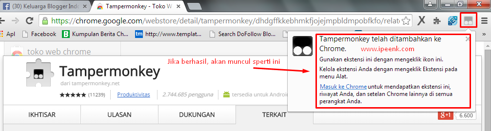 Sukses Download Add Ons Tampermonkey - Bom Like Facebook
