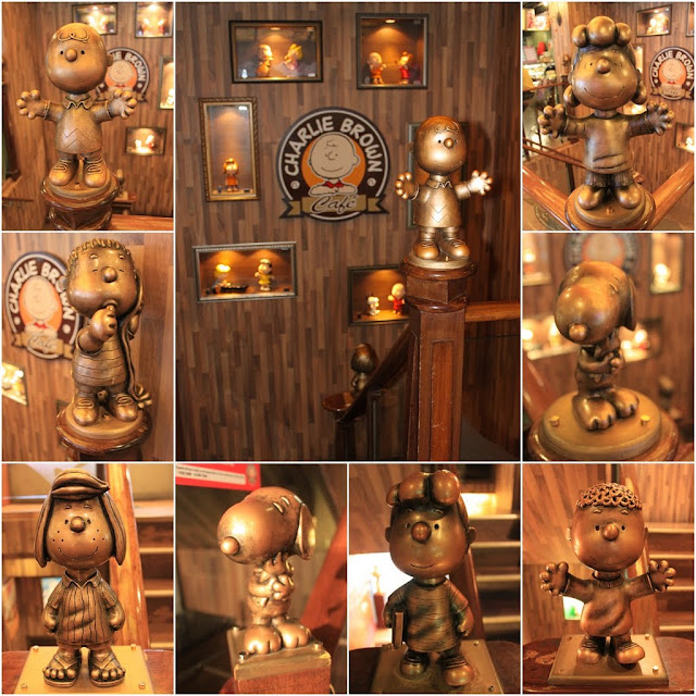 Sculpture of Charlie Brown, Snoopy, Linus van Pelt, Lucy van Pelt, Peanuts and other friends at Charlie Brown Cafe in Tsim Sha Tsui, Kowloon, Hong Kong