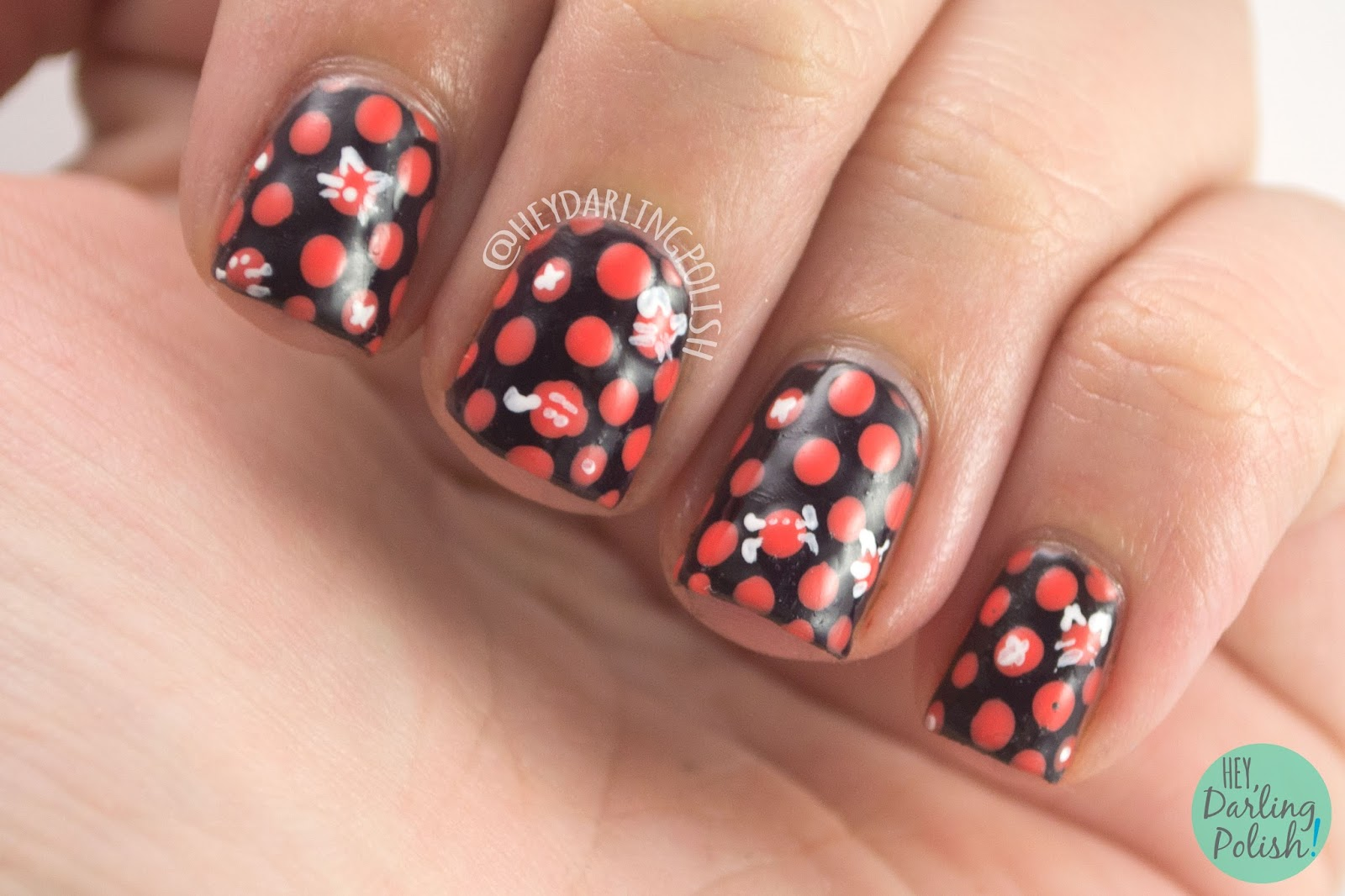 nails, nail art, nail polish, polka dots, dots, orange, black, hey darling polish, 31dc2014, 31 day challenge,