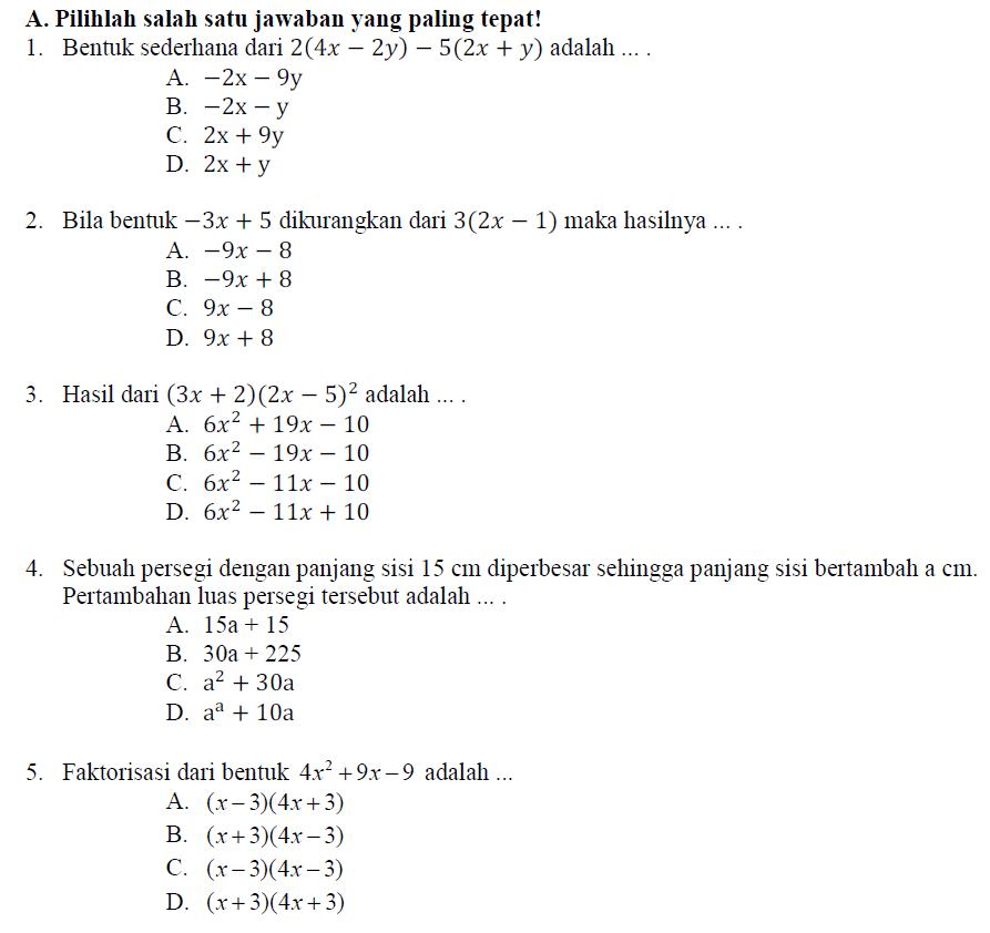 Soal Uts Matematika Kelas 8 Semester 1 Kunci Jawaban