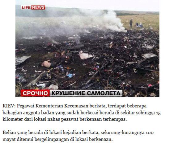 Gambar pesawat MH17 terhempas