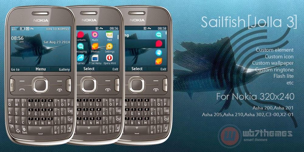 Sailfish Jolla 3 - Tema inspirado no Jolla OS para Nokia C3-00, X2-01, Asha 200, 201, 205, 210 e 302