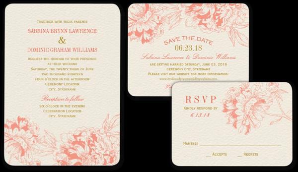 Coral Floral Peony Design Wedding Invitation