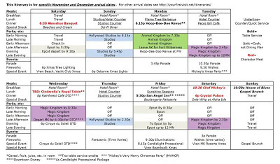 Disneyland example itinerary