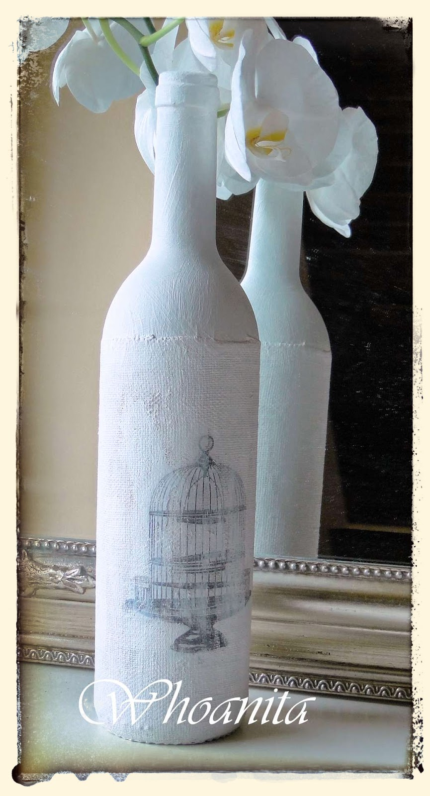 butelka w bieli, transfer