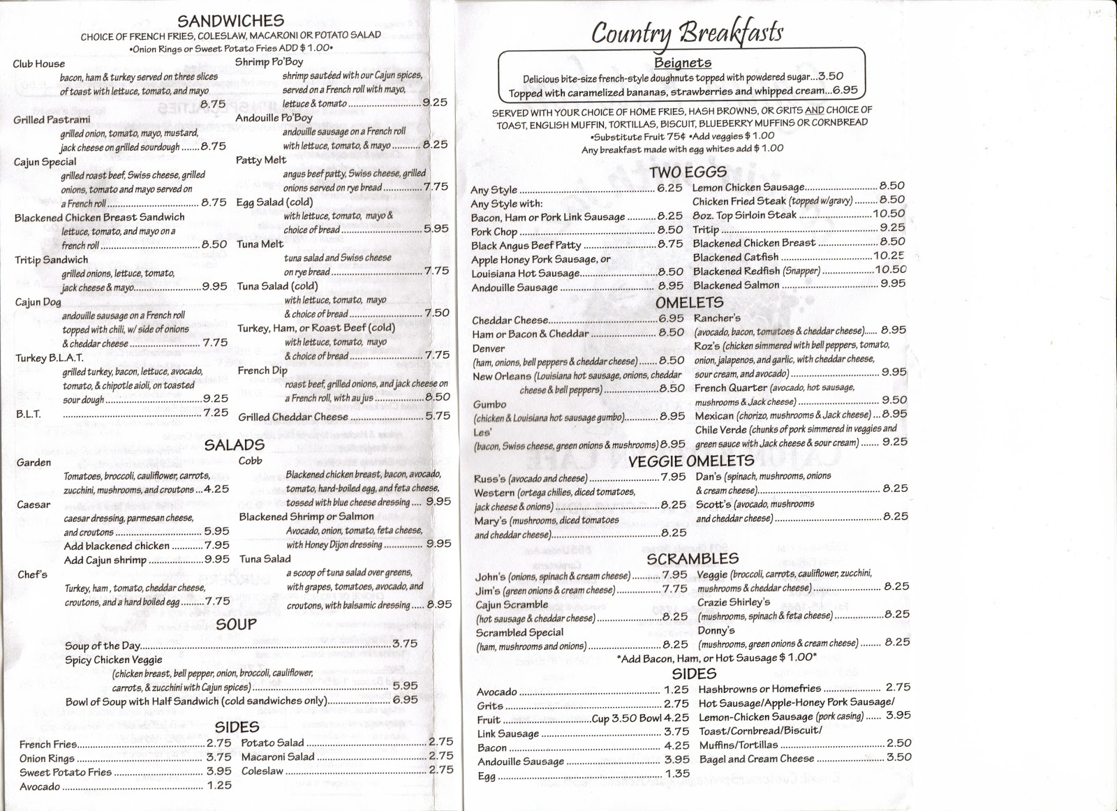 Soup Kitchen Menu Vc Menu Cajun Kitchen Cafe Ventura Santa Barbara Goleta Lompoc