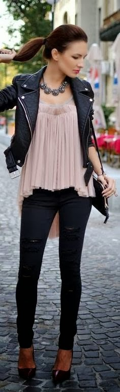 Stylish leather jacket, Blouse and skinnies for street style