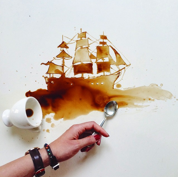 We're loving this art from Instagrammer Giulia Bernardelli, created totally from coffee stains (but we've snuck one made from chocolate in there too). Her account is just a joy to follow. Seriously, I've spilt a million coffee cups and never thought about doing anything this creative with the result. The closest I came to was scrawling on a cup in the Department of Coffee + Social Affairs.
