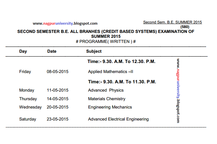 Engineering b e 2nd second sem summer 2015 time table for Rtmnu time table 4th sem