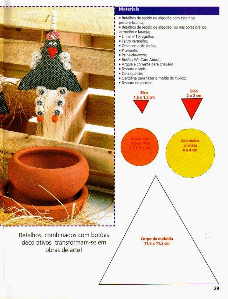 Chaveiro de galinha com moldes