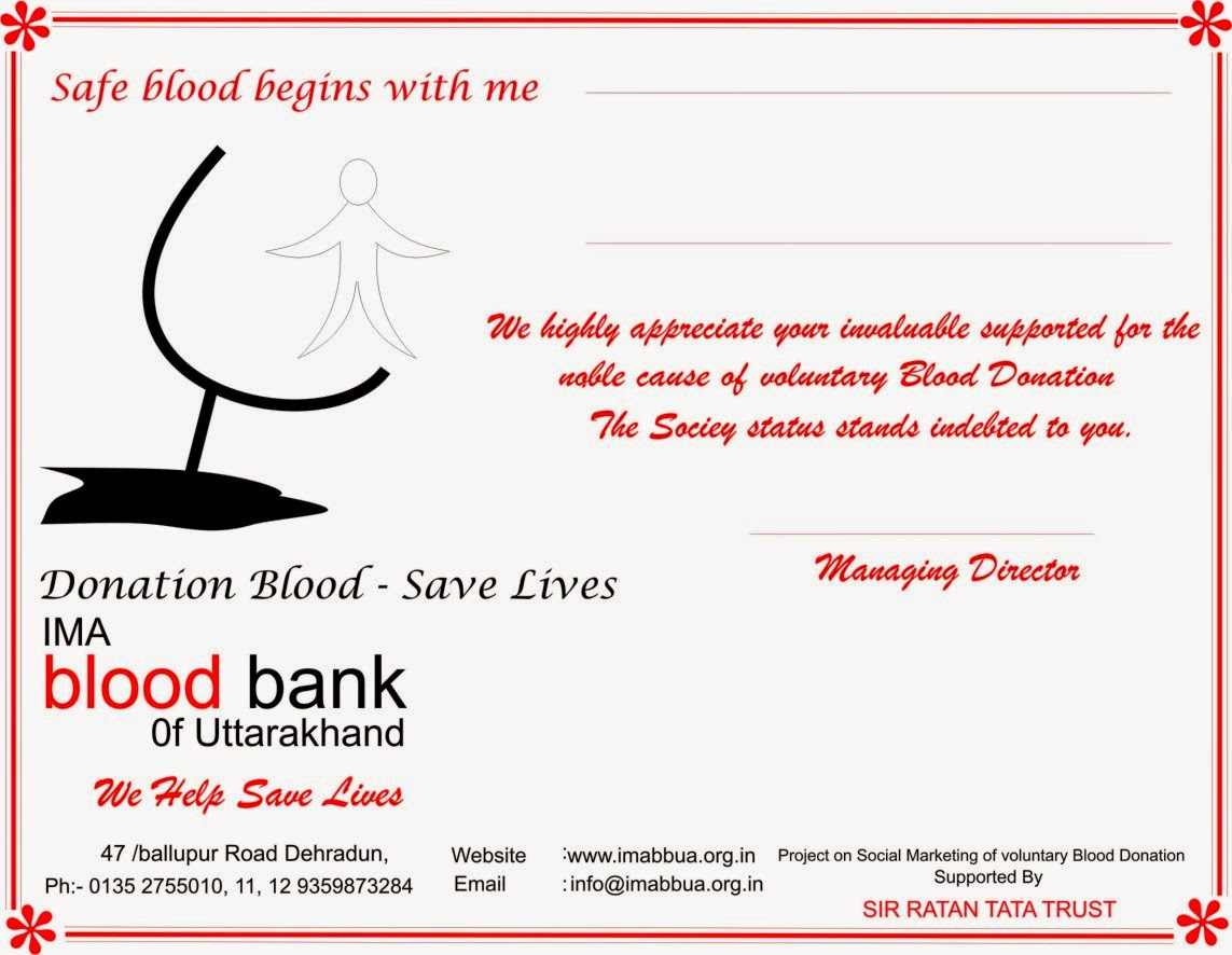 Shubh4you organisational work donate blood safe life a blood donated certificate designed on the occasion of blood donation camp stopboris Choice Image