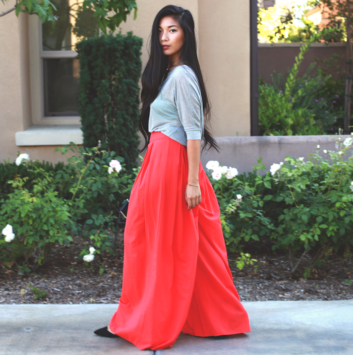 Stephanie Liu of Honey & Silk wearing 6 Shore Road pants, Lush top, Nifty Thrifty clutch, Zara heels, and Lulu*s necklace