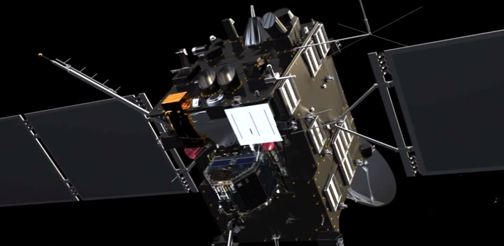 "Rosetta's star trackers are marked in red, and part of the high gain antenna can be seen in the background. Credit: ESA/ATG medialab. (Note that this is a still image taken from our 2013 animation ""How Rosetta wakes up from deep space hibernation"")"