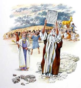 O Bezerro de Ouro e a Quebra das Tábuas da Lei por Moisés (2)