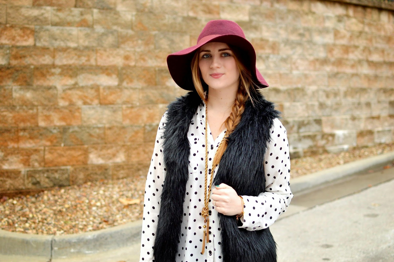 faux fur and polka dots