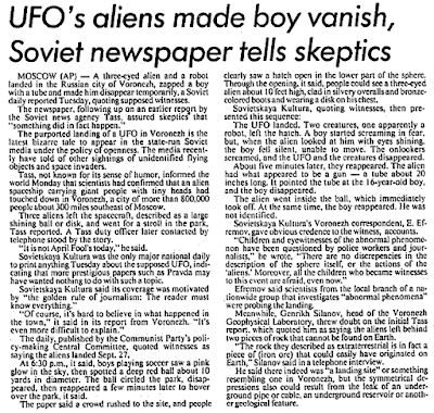 UFO's Aliens Made Boy Vanish, Soviet Newspaper Tells Skeptics - The Stars and Stripes 10-11-1989