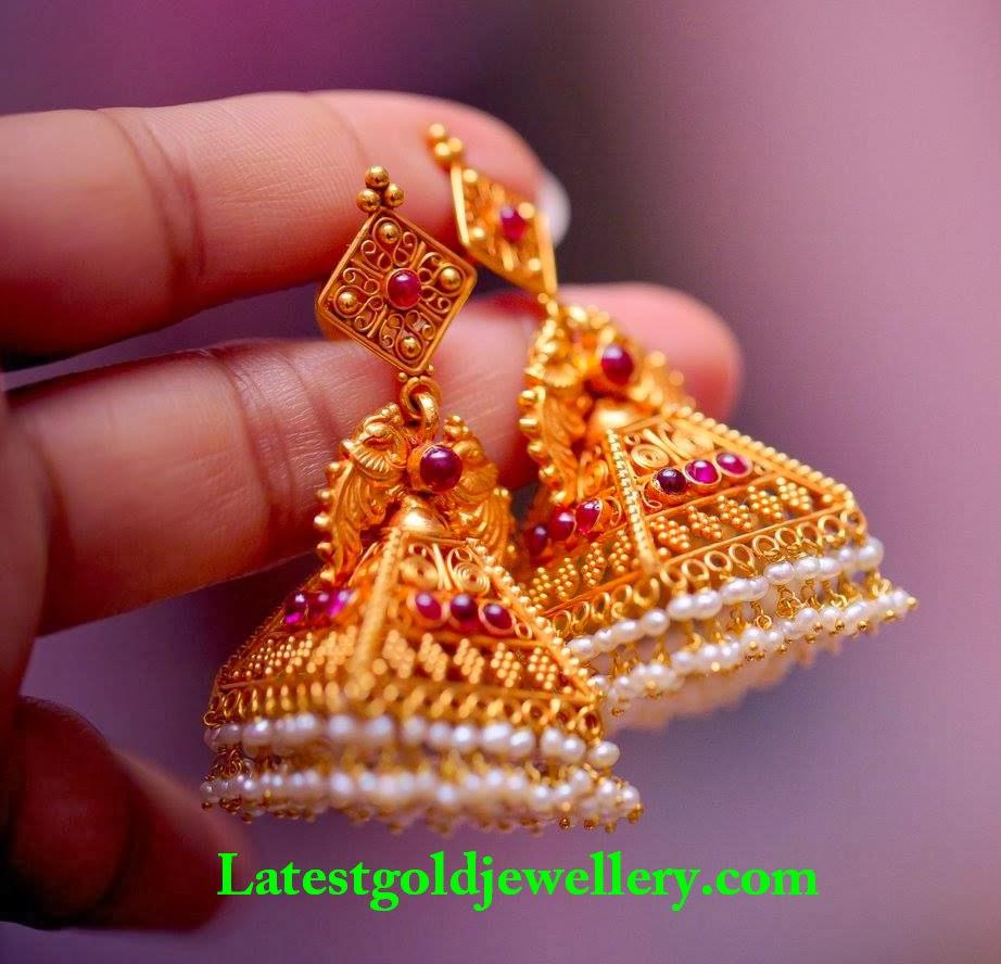 Antique Gold Jhumkas | Latest Gold Jewellery Designs