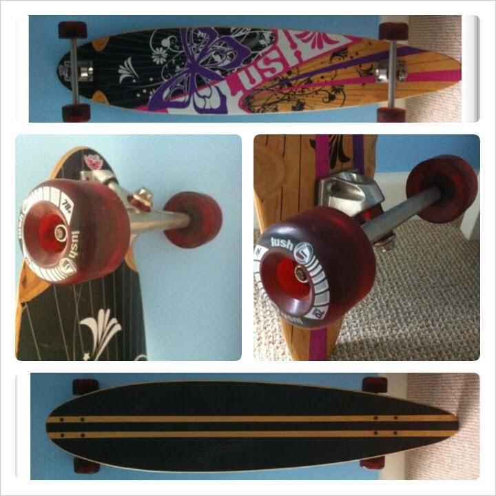 "lush longboard long board 44"" skateboard skate wheels deck flowers"