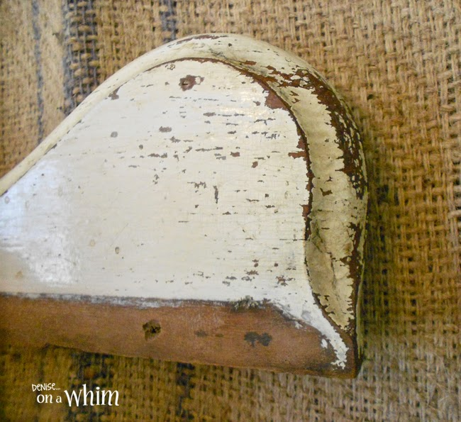 Chippy, aged paint on a salvaged wood hook board from Denise on a Whim
