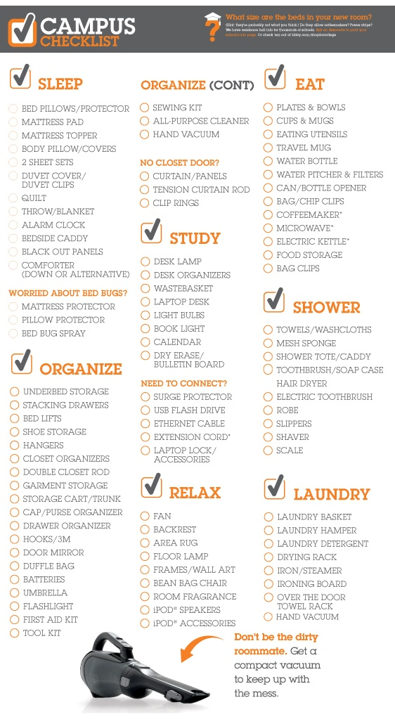 Bed Bath And Beyond College Apartment Checklist