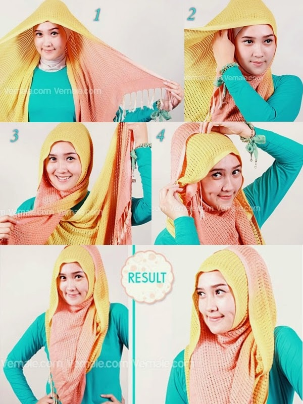 cara memakai jilbab pashmina sifon untuk ke pesta