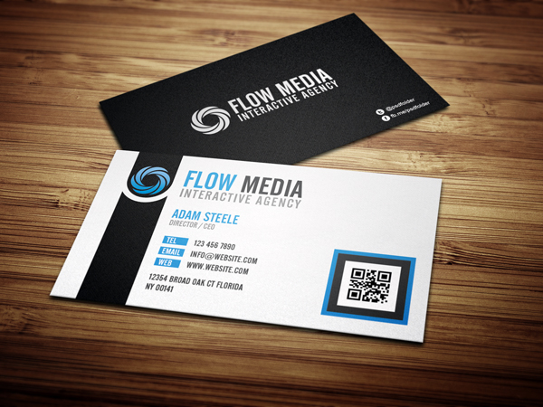 Free PSD: Flow Business Cards in 3 Colors