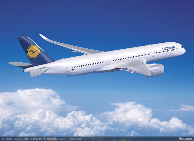 Computer generated image of Airbus A350-900 XWB in Lufthansa livery