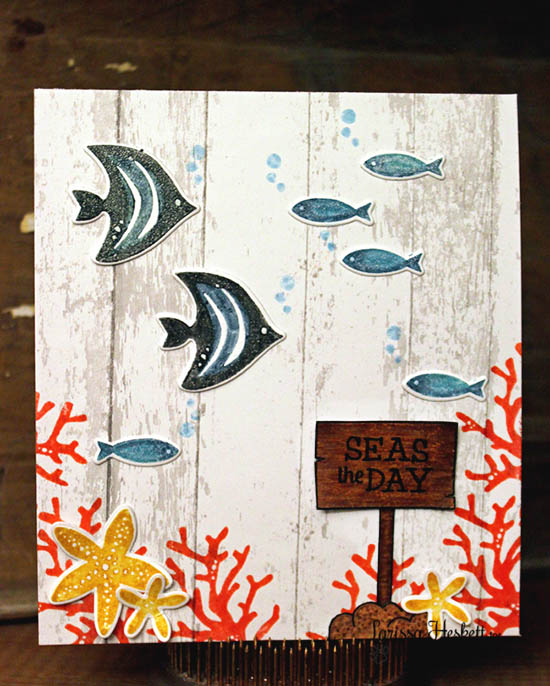 Seas the Day Fish card by Larissa Heskett | Tranquil Tides stamp set & Die set by Newton's Nook Designs #sea #fish #underthesea