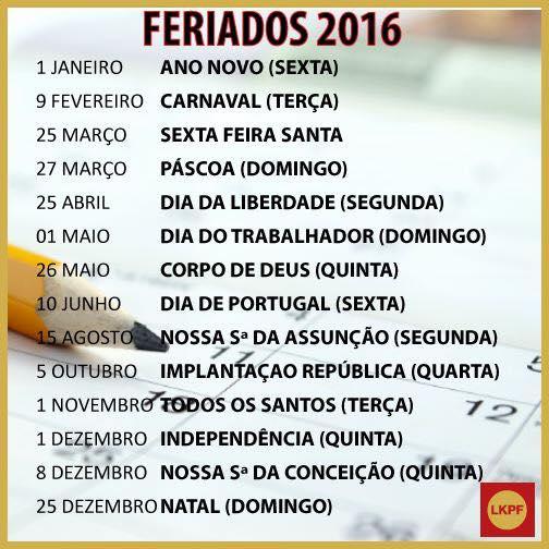 FERIADOS DE 2016