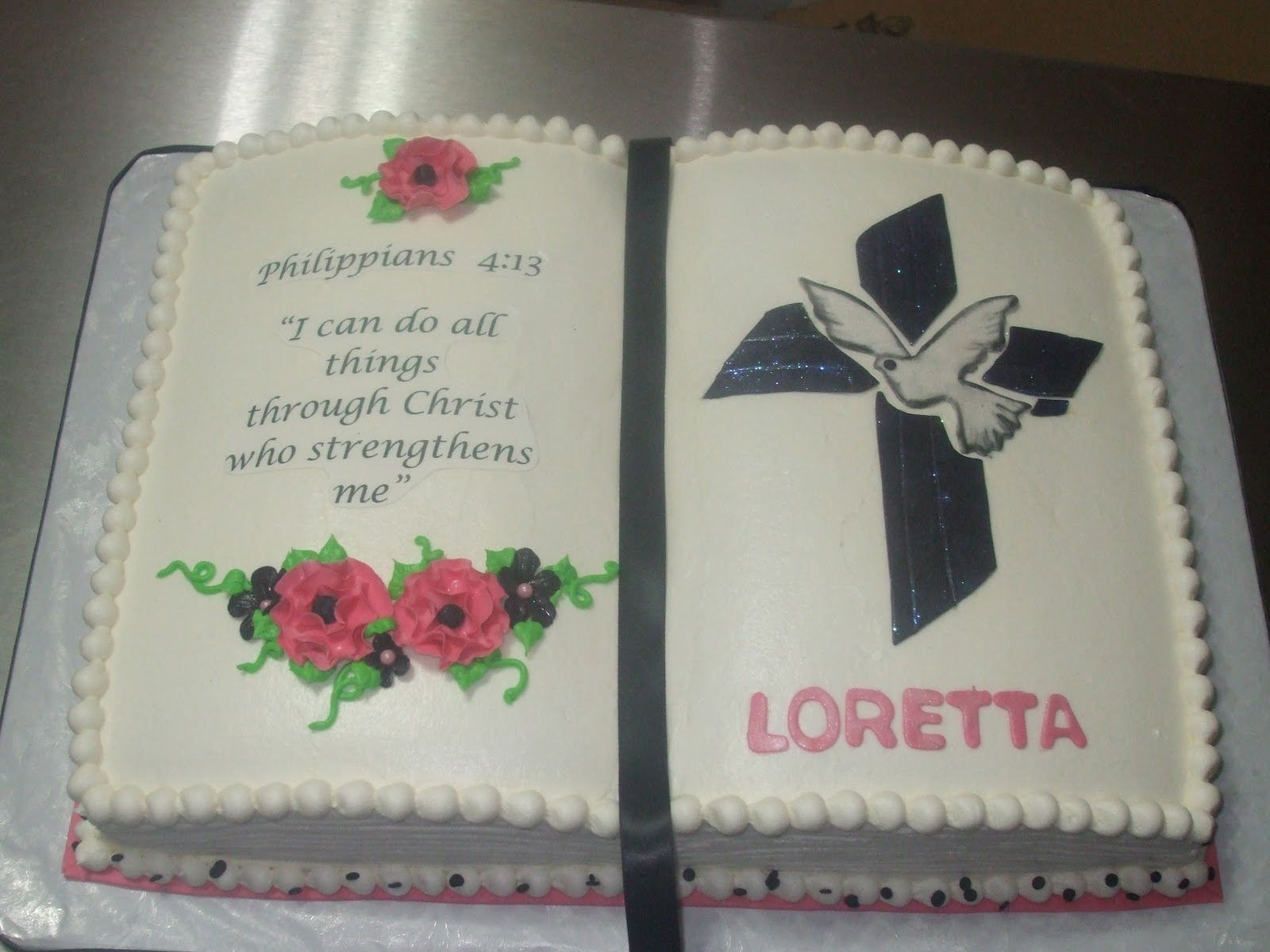 Cakes By Paula Girl Confirmation And Cross Cake